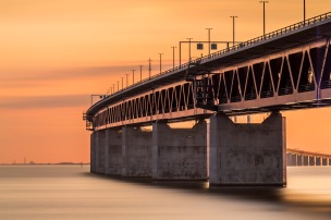 Öresundsbron Curving To Denmark - Fine Art Photographer - Houston - Mabry Campbell