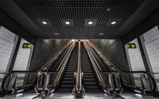Track Level Escalators Of Triangeln Station - Commercial Architectural Photographer - Houston - Mabry Campbell