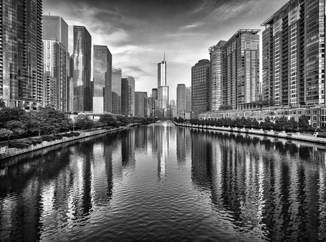 Trump Tower And Chicago River Skyline M - Fine Art Photographer - Houston - Mabry Campbell