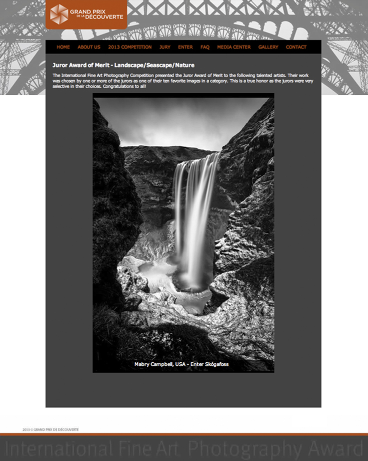 IFAP 2013 Juror Award Of Merit - Enter Skogafoss