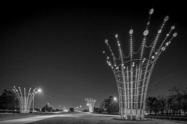 Jet Trail Over Radiant Fountains - Mabry Campbell