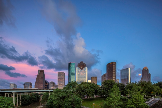 Houston-Skyline-Over-Buffalo-Bayou-Mabry-Campbell