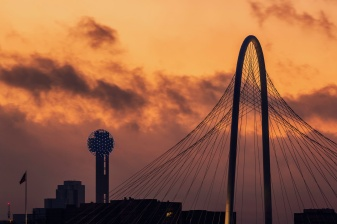 Margaret-Hunt-Hill-Bridge-And-Reunion-Tower-Sunrise-Mabry-Campbell