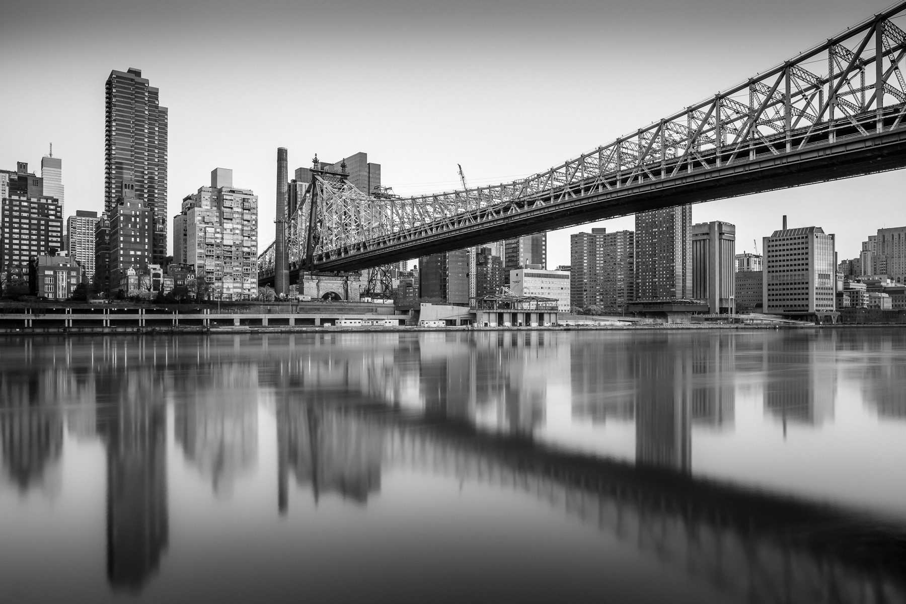 queensboro bridge black and white reflections