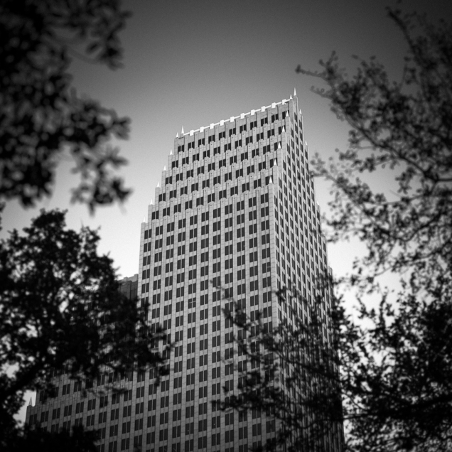 black and white photograph of 700 Louisiana building in downtown Houston, Texas, 2018